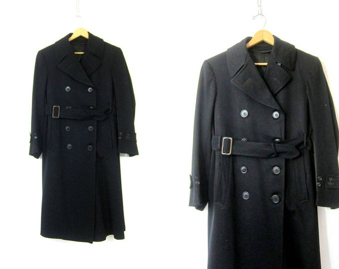 Long 1940s Black Wool Trench Coat Burton Baskin Military Overcoat Naval Officer Double Breasted Belted Dress Coat Vintage Men's Small Medium