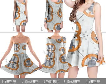 Little Round Droid BB8 Star Wars Inspired - Dress in XS-3XL - Flared, Bodycon, or Skater Style 000856