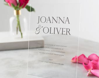 Personalised Acrylic Metallic Wedding Invitation