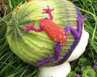 Frogs in the Grass Beanie knitting pattern