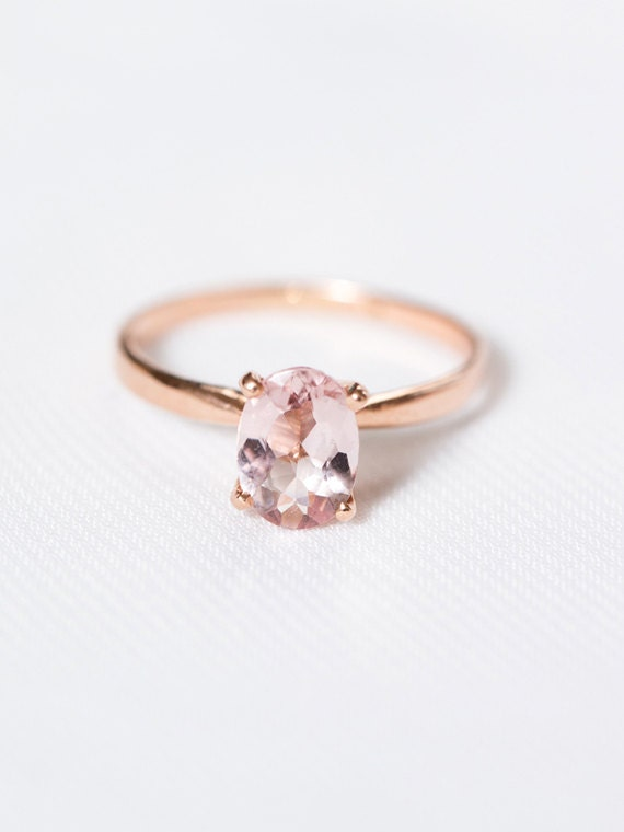 rose gold morganite engagement ring oval solitaire wedding ring rose gold morganite ring the genevive ring - Wedding Ring Rose Gold