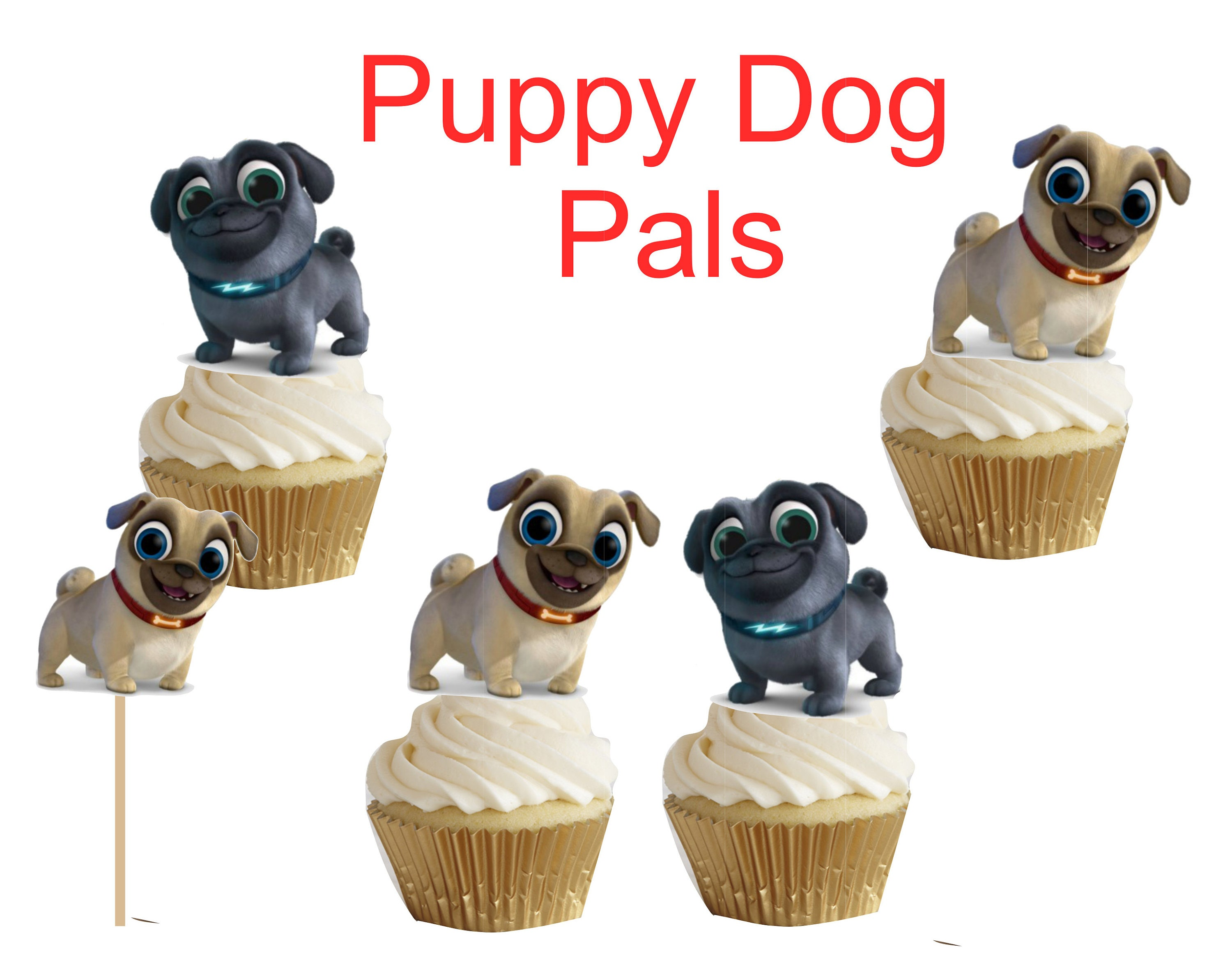 Puppy Dog Pals cakepop/cupcake toppers 24 pcs