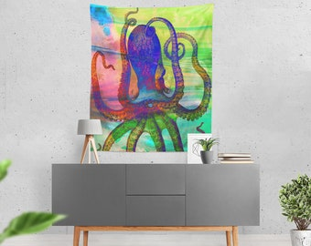 Octopus Wall Tapestry,  Ocean Life Abstract , Wall Tapestry, Wall Art