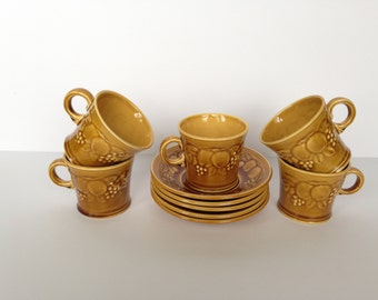 Set of Five (5) Royal Worcester Crown Ware England Demitasse Cup and Saucers