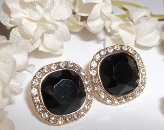 Earrings Vintage White Rhinestone Faux Diamond Black Onyx Costume Jewelry Fashion Pierced Set Prom Pageant Bride Wedding Bridal wvluckygirl