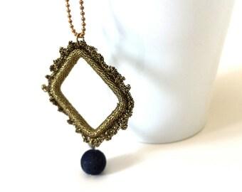 Geometric Pendant Necklace Bronze Minimalist Necklace Statement Necklace Bib Necklace Gifts for Her Birthday Gift Geometric Jewelry