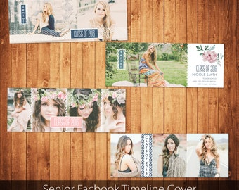 Senior Facebook Timeline Cover Template Set Photo Collage Photoshop template instant download