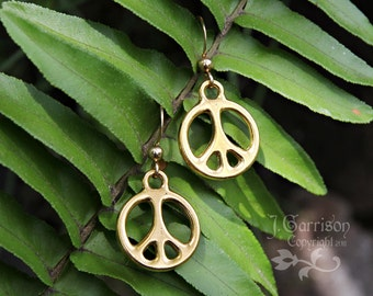 Simple peace sign earrings - 24k gold plated pewter peace sign charms on 14k gold filled earwires