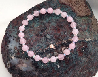 Rose quartz bracelet with rainbow crystals, pink gift for her, Rose Quartz wedding, bridesmaid gift, girlfriend gift, sister gift