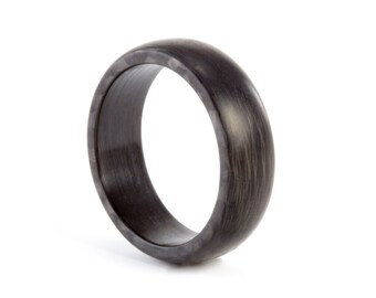 Men's modern carbon fiber ring. Machined from solid sheet black wedding band. Water resistant, very durable and hypoallergenic. (00107_7N)