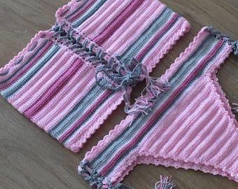 Stripe Crochet Bikini ,Pink Halter Bikini Top Women Swimwear Swimsuit Crochet Bikini Bottom Bathing suit 2018 Swimwear Fashion