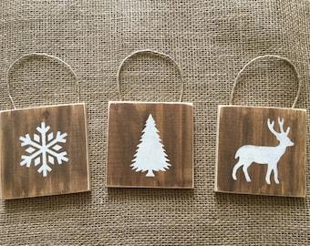 Rustic Christmas ornaments, set of three woodland Christmas ornaments, wood nature inspired ornaments, wood Christmas ornaments