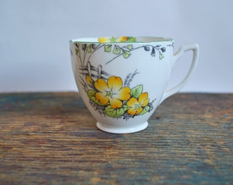 Vintage Melba Bone China Tea Cup Handpainted with Yellow Pansy Flowers - Orphan Tea Cup ONLY