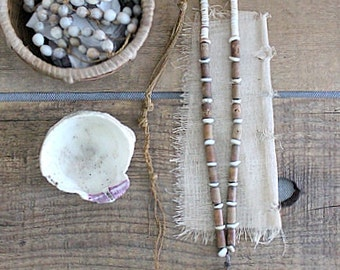 Vintage Natural Bohemian Wood Stone And Shell Bead Necklace