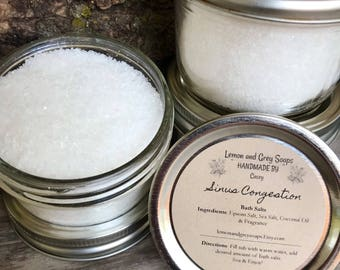 Sinus Congestion Relief Bath Salts for Cold Relief and Allergy Relief. Peppermint and Eucalyptus Aromatherapy and Magnesium Bath
