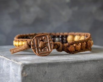 Wrap Bracelet - Mens Beaded Bracelet - Wood Bead Wrap Bracelet - Single Wrap Bracelet - Gemstone Wrap Bracelet - Mens Wrap Bracelet