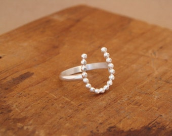 Sterling Silver Horseshoe Ring--Just a Little Luck--Dotted--Handcrafted--Bright Finish