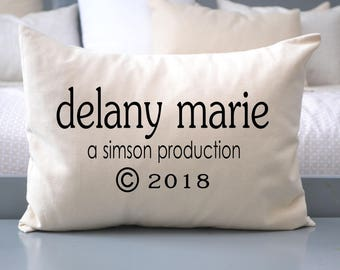 Personalized baby shower pillow, name pillow w/Circa date, baby girl or boy gift