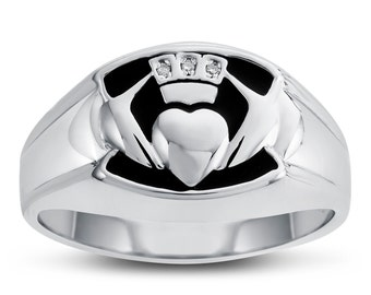 Sterling Silver Claddagh Ring with Genuine Diamonds