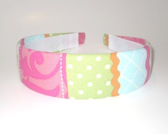 Fabric Covered Headband Pink Green Blue Stripes Girls Headband Adult Headband Cute Headband Preppy Birthday Gift Party Favors
