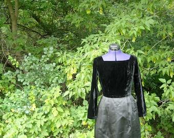 Black Cocktail Dress // Little Black Dress // 1960s Velvet Dress // Black Bridesmaid Dress // Holiday Fashion Satin Party Dress