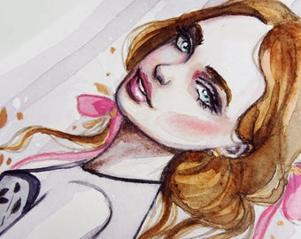 Girl with Pink Ribbons - Original Watercolor & Mixed Media Painting. Feminine, floral with Pastel  and Gold Colors.