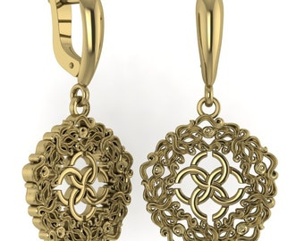 "Earrings ""Abundance waves with the wedding symbol"". 14K gold"
