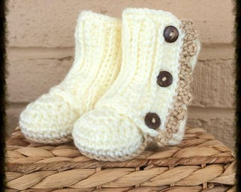 Newborn Crochet Wrap Boots, Baby Booties, Button Boots, Newborn Crochet, Ready to Ship,Cream, Purple, Crochet Baby Girl, Infant Girl Boots