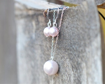 Pearl Bridesmaid Jewelry Set, Jr Bridesmaid Pearl Jewelry Gift Set, Choose Your Color Pearl Bridesmaid Set, Necklace and Earrings Set
