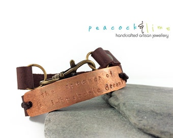 the Dreamer of Improbable Dreams or TARDIS Leather Wrap bracelet // leather & copper hand stamped multi wrap bracelet // handmade