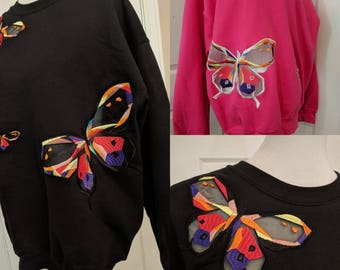 Butterfly Sweater Pink and Black Size Large