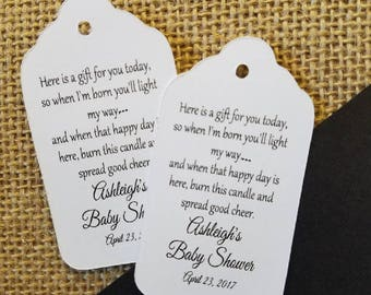 Here is a Gift for you Today so when I'm born you'll Light my Way Light the Way favor tag MEDIUM Tags Personalize with names and date