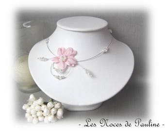 Pink white wedding flowers silk 'Tradition' Eva ceremony necklace