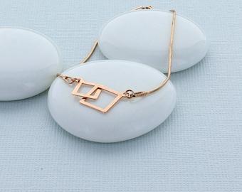 Rose Gold Interlocking Squares Bracelet