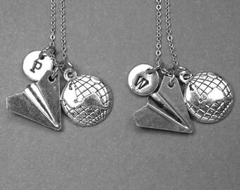 Best friend necklace, paper plane necklace, planet necklace, paper airplane necklace, friendship jewelry, initial necklace, best friend gift
