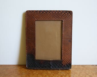 Vintage Natural Snake Snakeskin Folding Travel Picture Frame