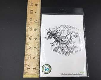 Cling mount Christmas Postcard Rubber Stamp