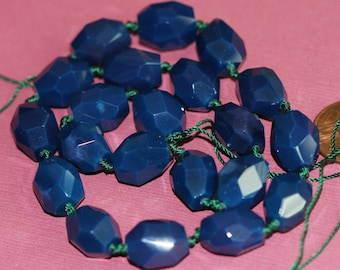 15 inches strand of Dark Blue Agate faceted nuggets 10x14mm - 12X18mm