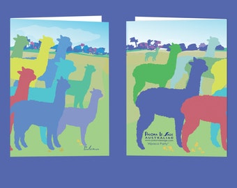 Alpaca Blank Greeting Card Free Shipping Australia Wide