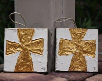 Cross Christmas ornament; textured cross ornament; holiday decor; tree ornaments; gold cross; home decor