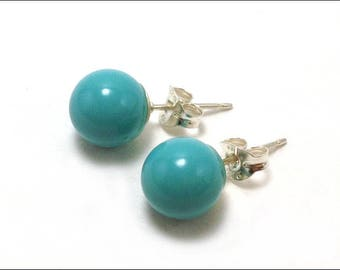 Turquoise - 8mm Round Studs Earrings