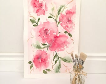 Pretty peonies - original watercolor paitning