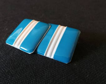 Vintage Turquoise Blue And White Striped Enamel Retro Geometric Earrings