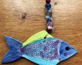 SALE Hanging Ceramic Fish Ornament,