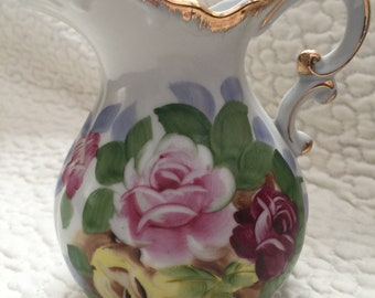 Vintage Hand Painted Pitcher With Gold Trim By Sadek