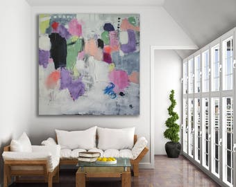 XL Textured Colorful Abstract Painting / Original Art / Abstract Art / Oversized Painting / Modern Art / Pink Painting
