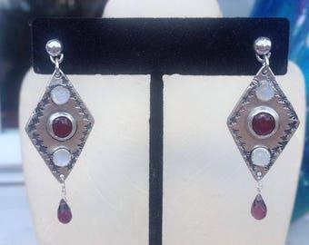Garnet, Moonstone, Tourmaline and Silver Dangle Earrings