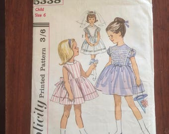 Vintage Simplicity sewing pattern for girls dress size 6