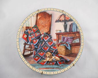 Knowles Warm Retreat Collector's Plate Cozy Country Corners Series by Hannah Hollister Ingmire 1990 Cute Puppy
