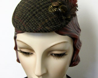 Glen Plaid Faux Feather Fascinator